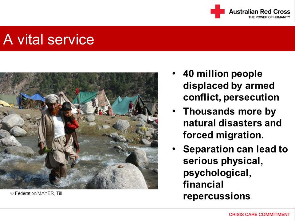 A vital service 40 million people displaced by armed conflict, persecution. Thousands more by natural disasters and forced migration.
