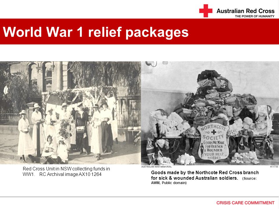 World War 1 relief packages