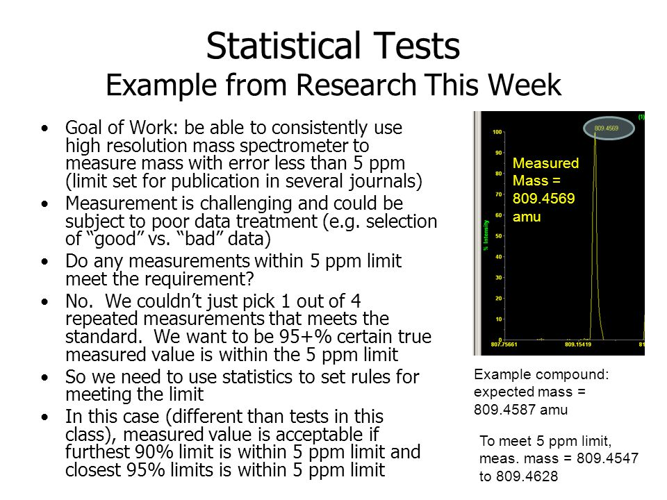 Statistical Tests Example from Research This Week