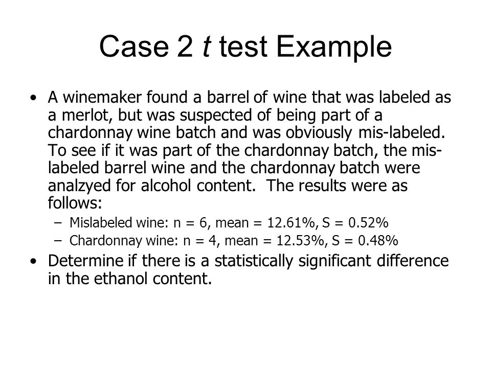 Case 2 t test Example