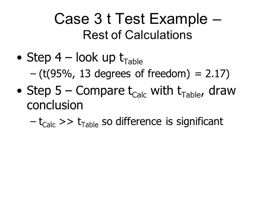 Case 3 t Test Example – Rest of Calculations