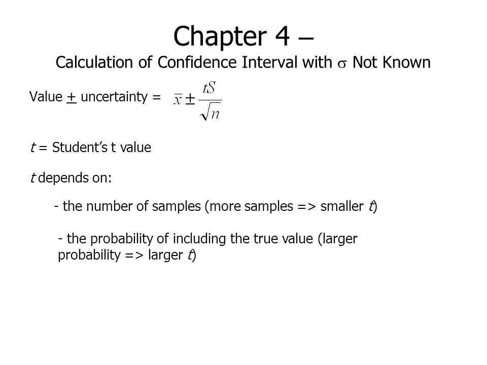 Chapter 4 – Calculation of Confidence Interval with s Not Known