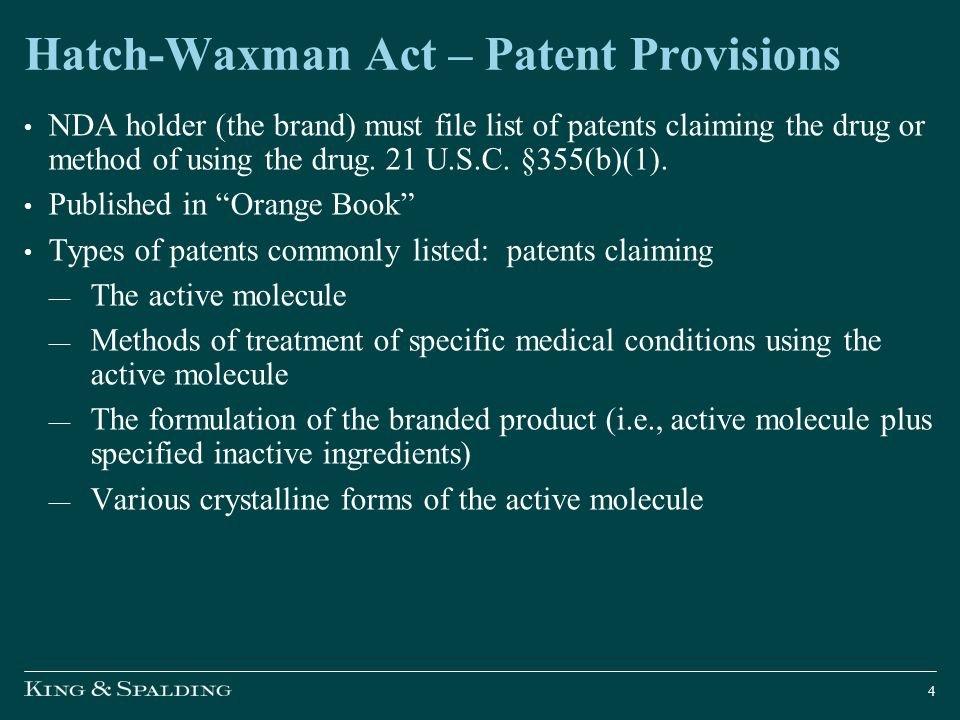 Hatch-Waxman Act – Patent Provisions