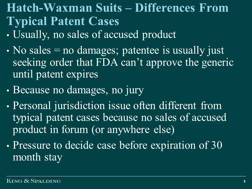 Hatch-Waxman Suits – Differences From Typical Patent Cases