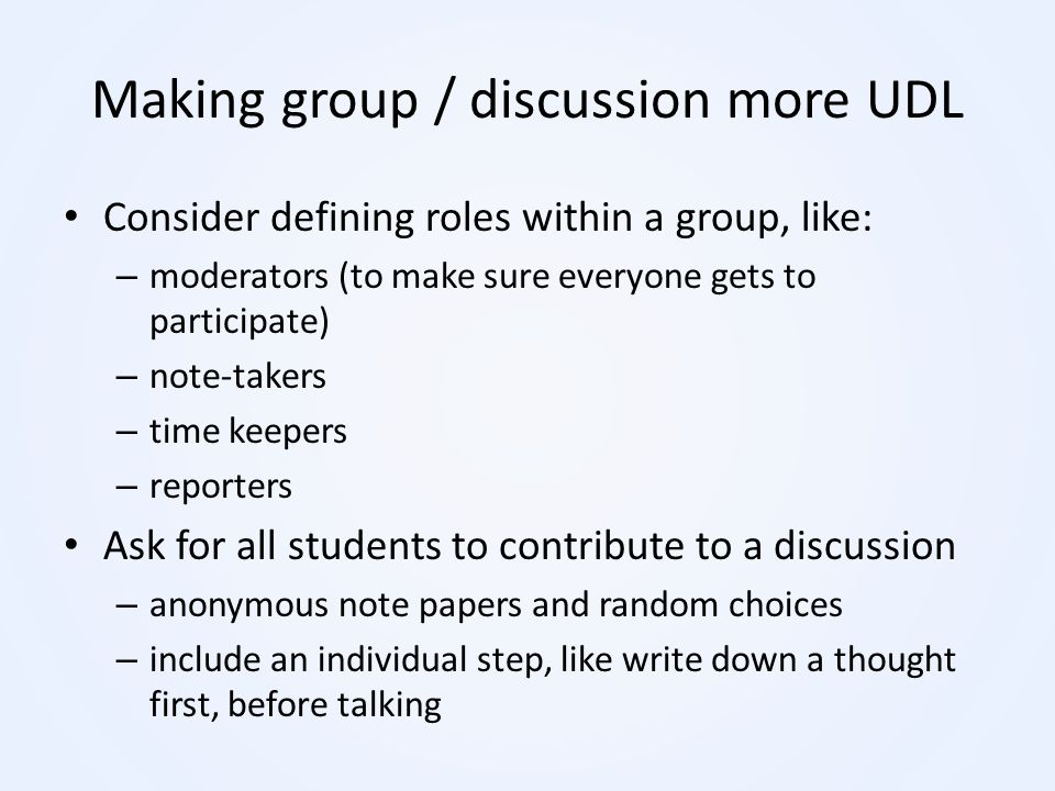 Making group / discussion more UDL