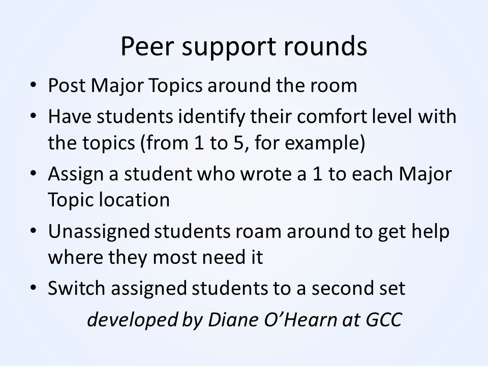 developed by Diane O'Hearn at GCC