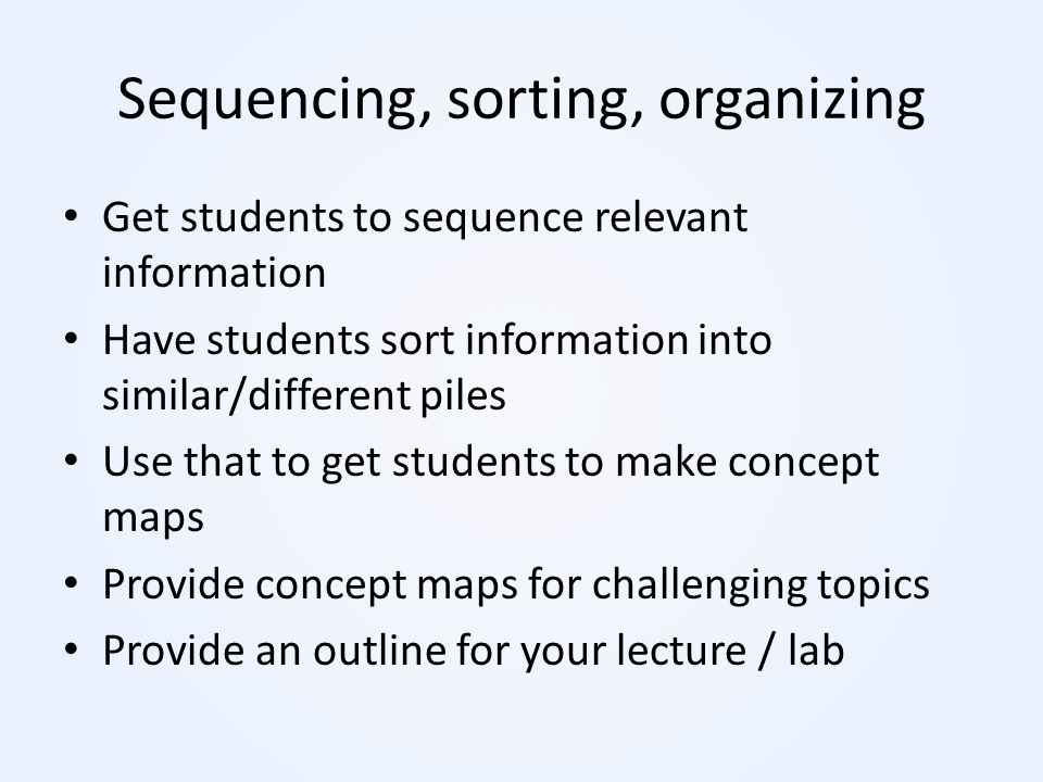 Sequencing, sorting, organizing