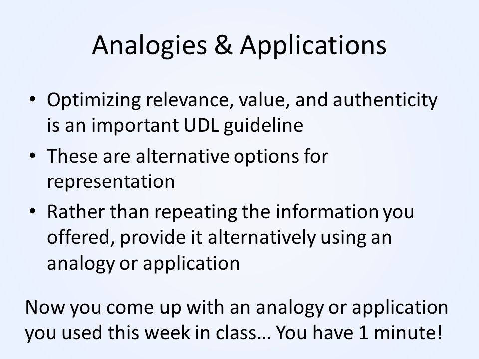 Analogies & Applications