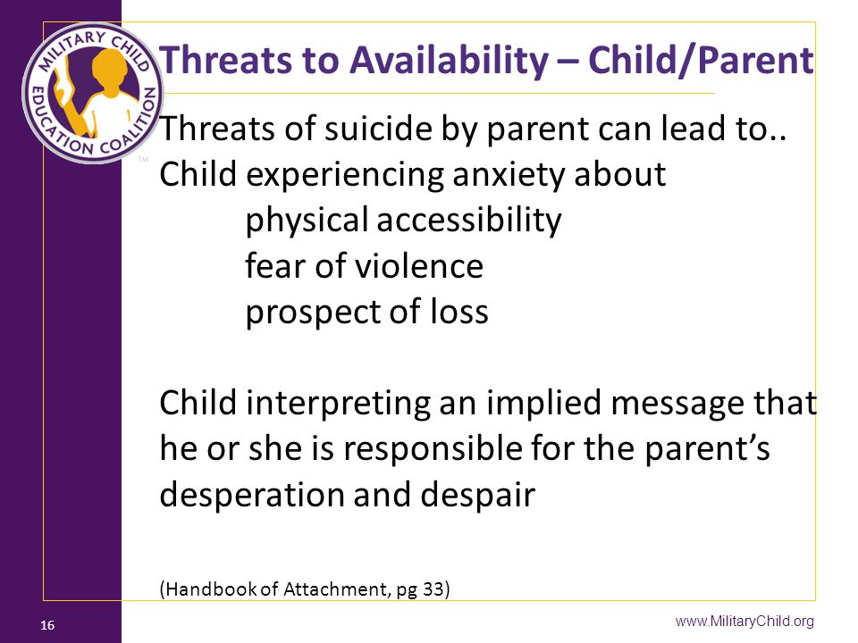 Threats to Availability – Child/Parent