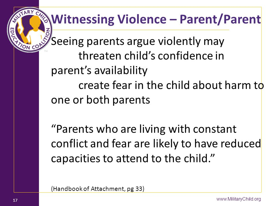 Witnessing Violence – Parent/Parent