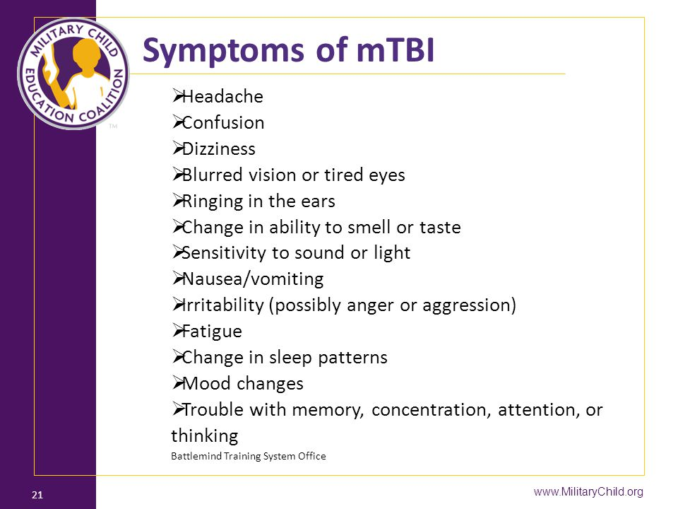 Symptoms of mTBI Headache Confusion Dizziness