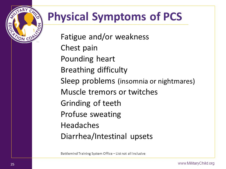 Physical Symptoms of PCS