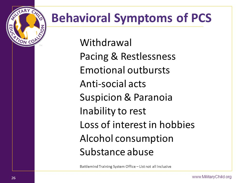 Behavioral Symptoms of PCS