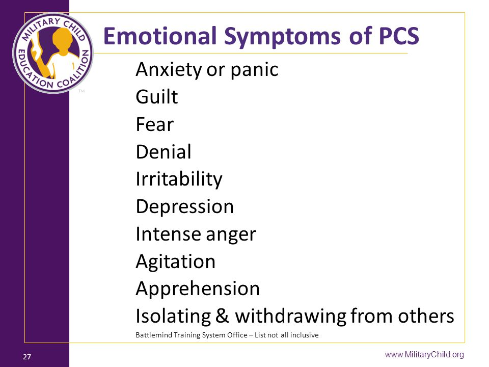 Emotional Symptoms of PCS
