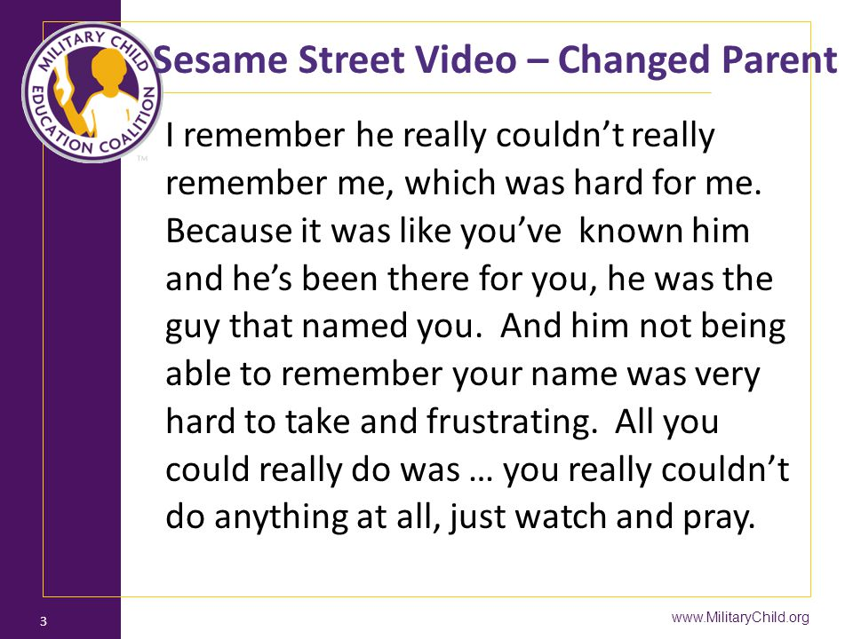 Sesame Street Video – Changed Parent
