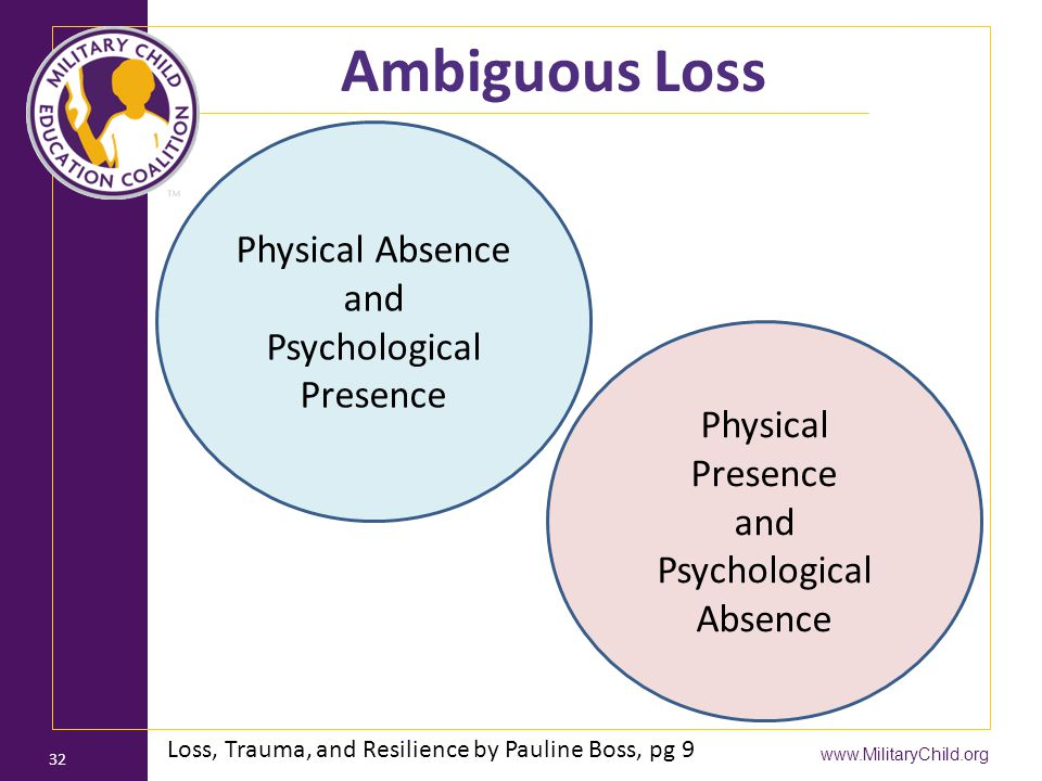 Ambiguous Loss Physical Absence and Psychological Presence
