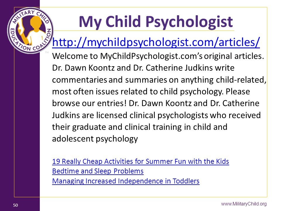 My Child Psychologist http://mychildpsychologist.com/articles/