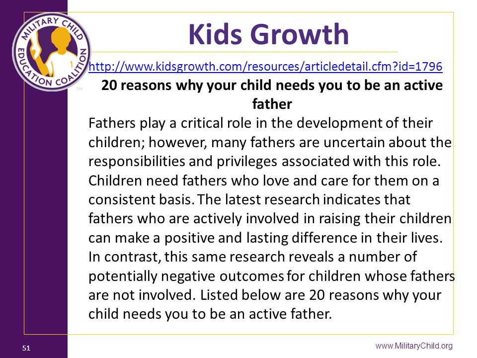 20 reasons why your child needs you to be an active father