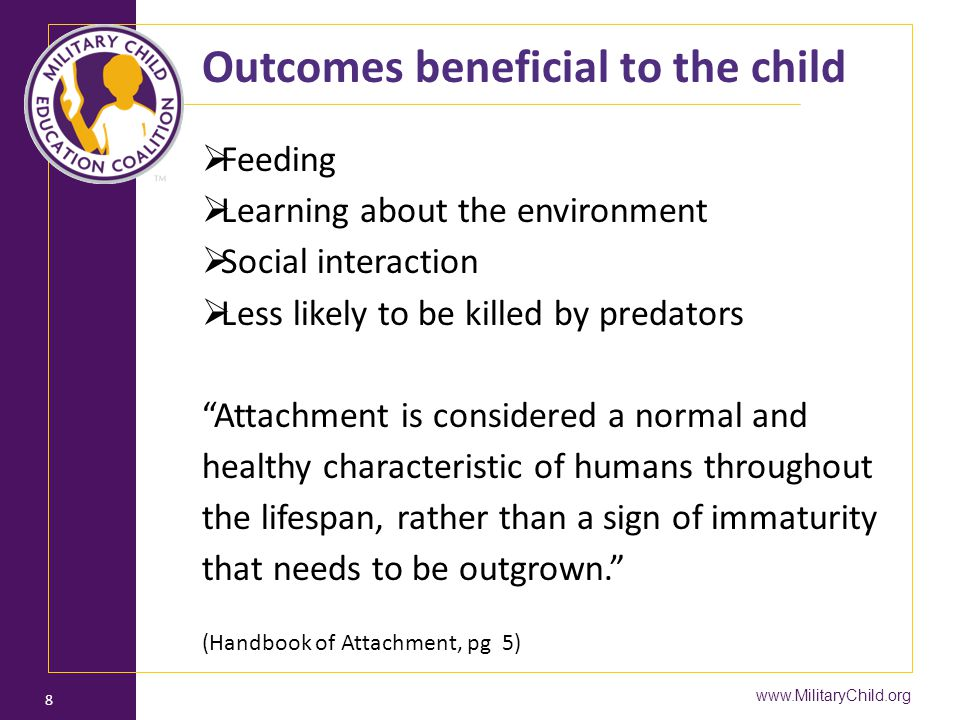 Outcomes beneficial to the child
