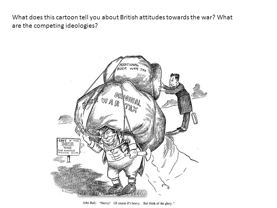 What does this cartoon tell you about British attitudes towards the war.