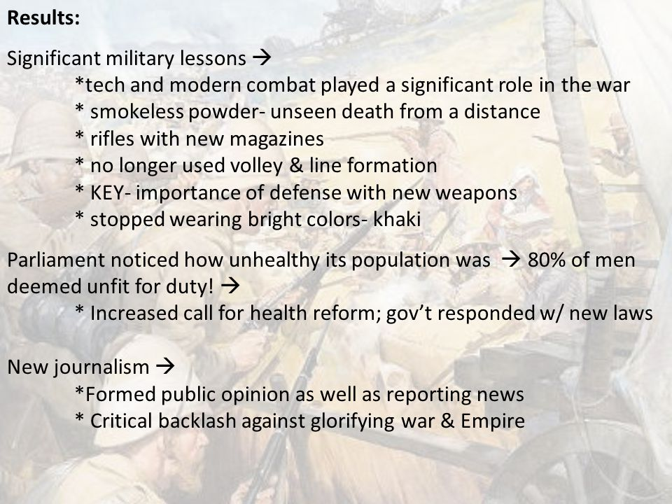 Results: Significant military lessons  *tech and modern combat played a significant role in the war.