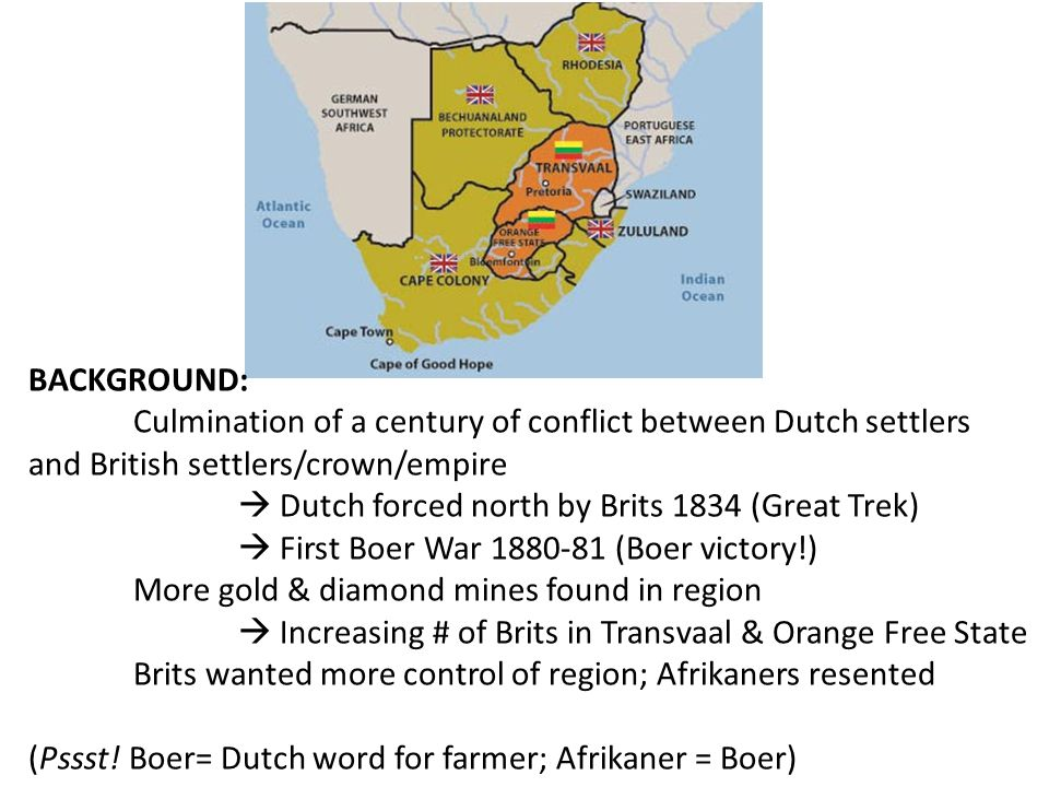 BACKGROUND: Culmination of a century of conflict between Dutch settlers and British settlers/crown/empire.