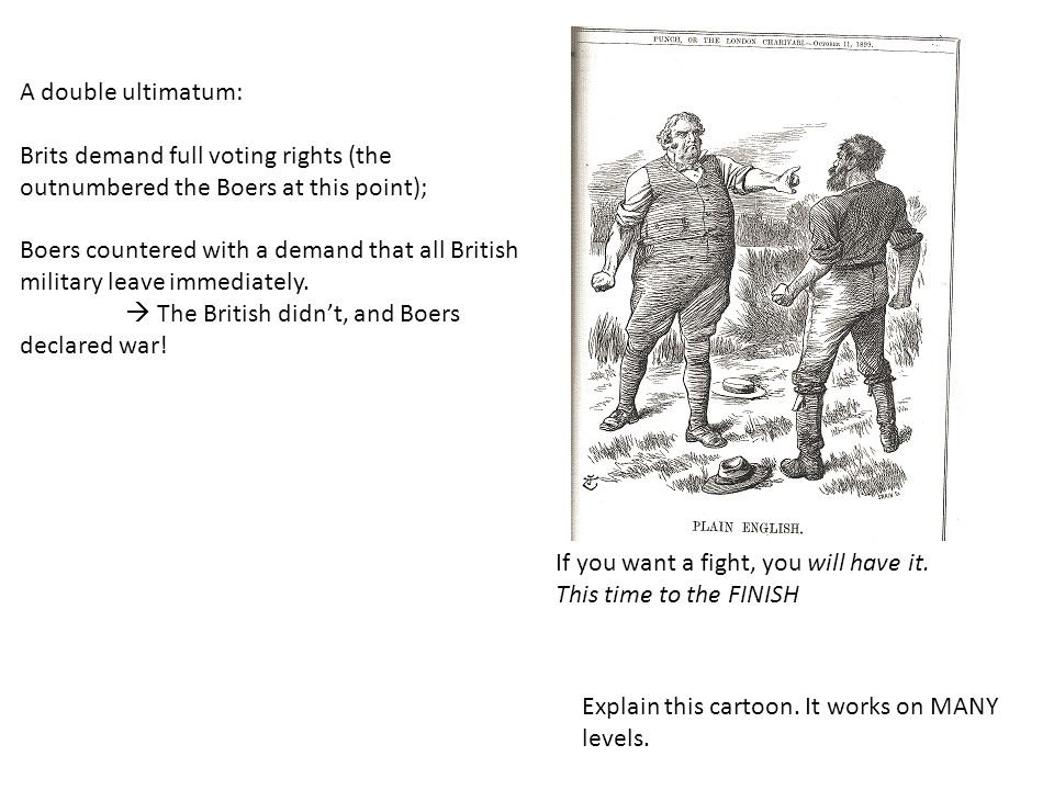 A double ultimatum: Brits demand full voting rights (the outnumbered the Boers at this point);