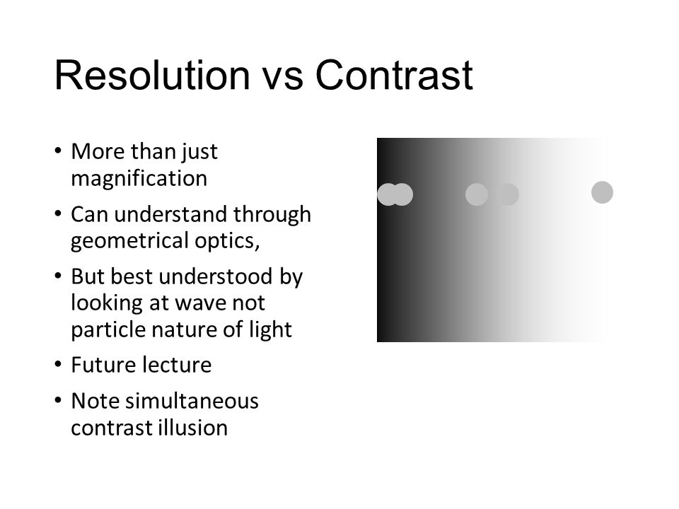 Resolution vs Contrast
