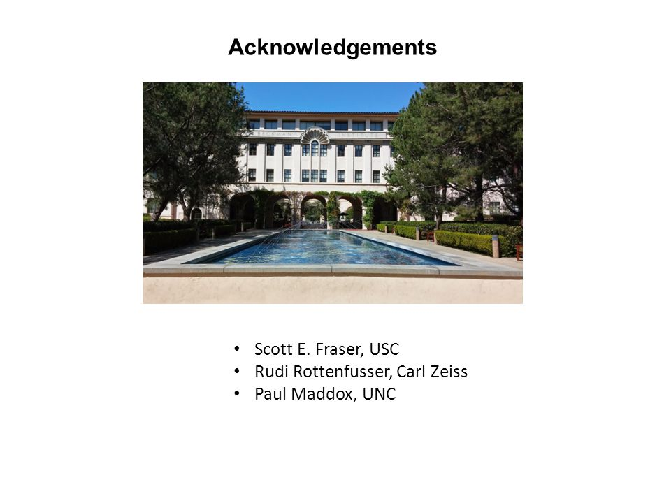 Acknowledgements Scott E. Fraser, USC Rudi Rottenfusser, Carl Zeiss