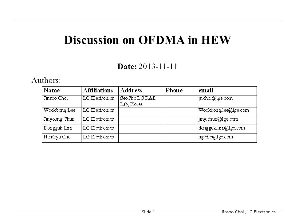 Discussion on OFDMA in HEW
