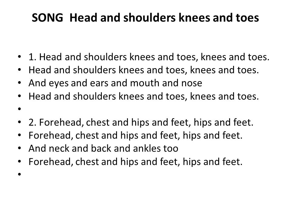 SONG Head and shoulders knees and toes