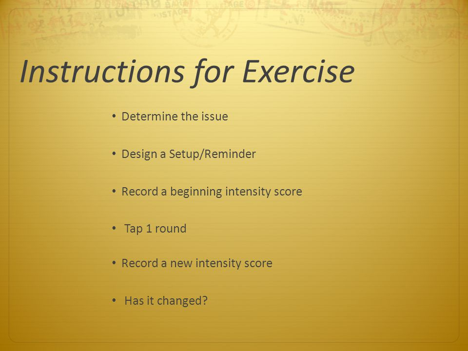 Instructions for Exercise