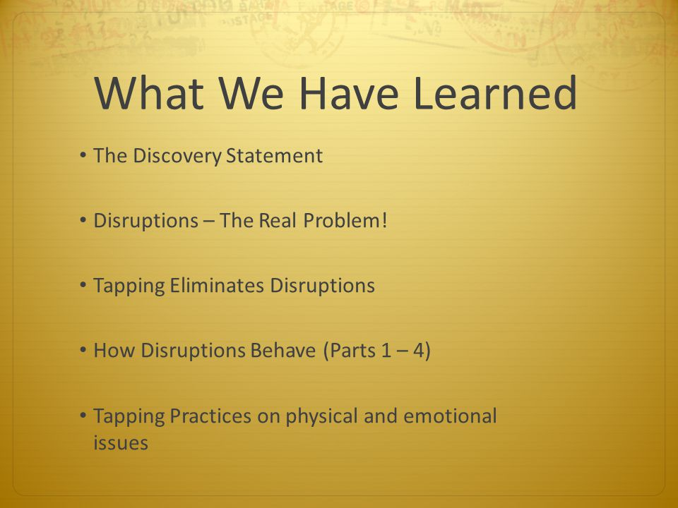 What We Have Learned The Discovery Statement