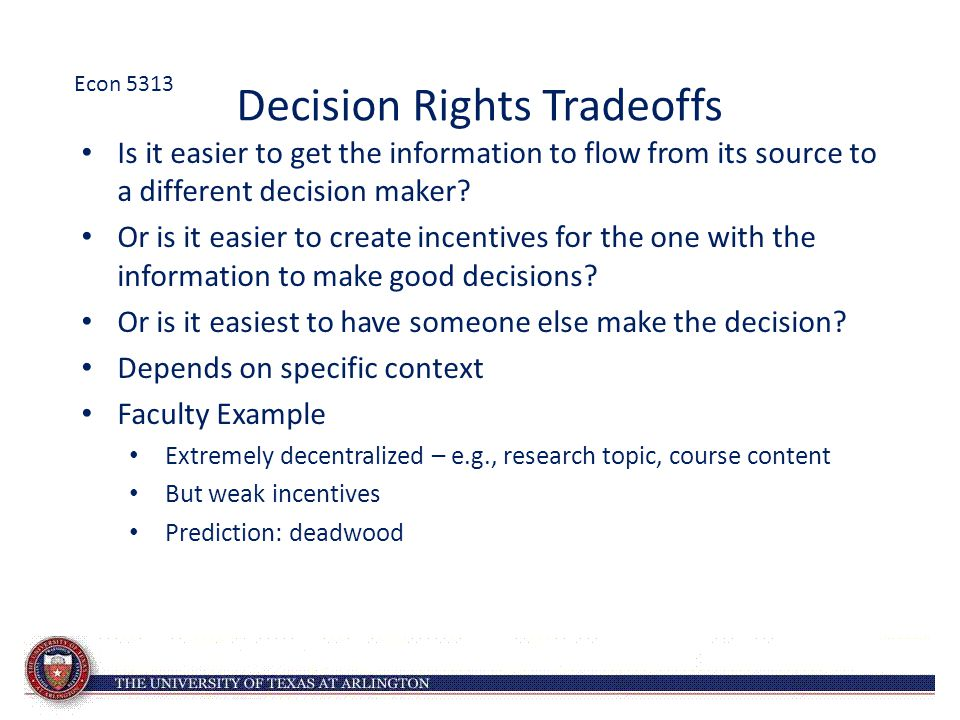Decision Rights Tradeoffs