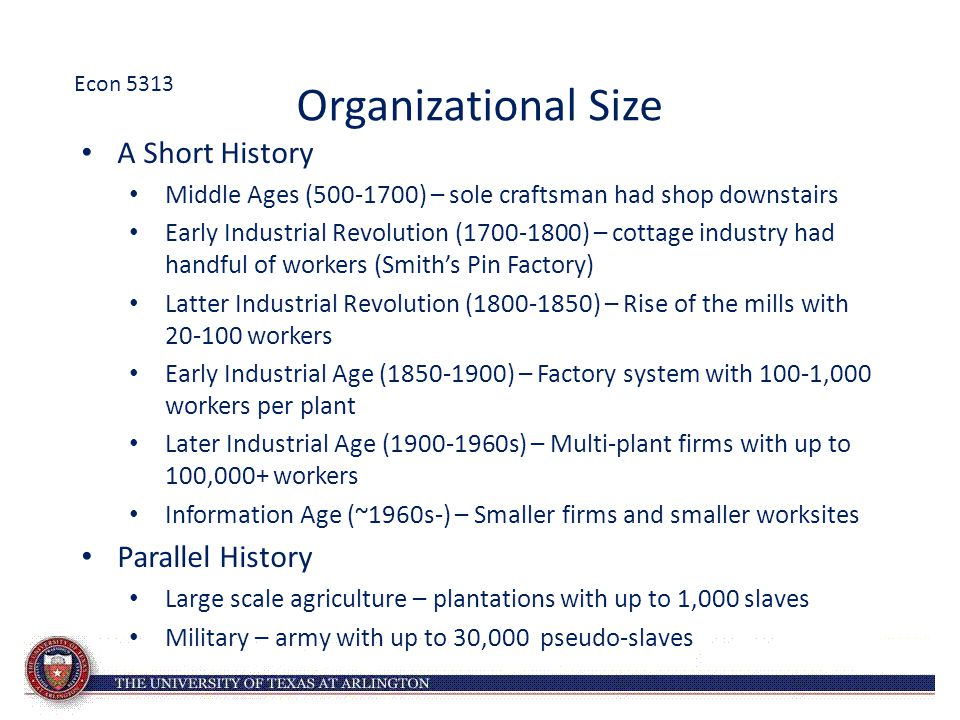 Organizational Size A Short History Parallel History