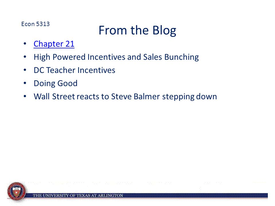 From the Blog Chapter 21 High Powered Incentives and Sales Bunching