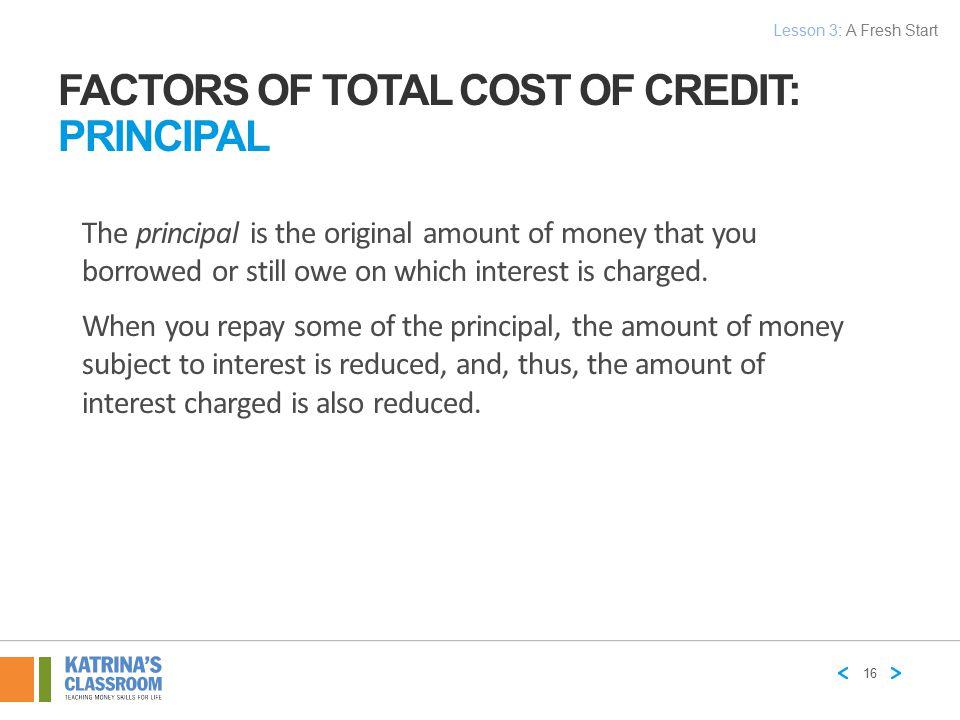 Factors of Total Cost of Credit: Principal