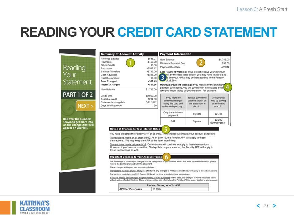 Reading Your Credit Card Statement