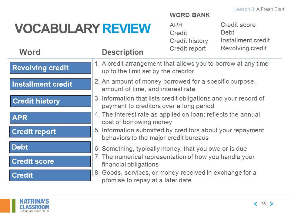 VOCABULARY REVIEW Word Description Revolving credit Installment credit