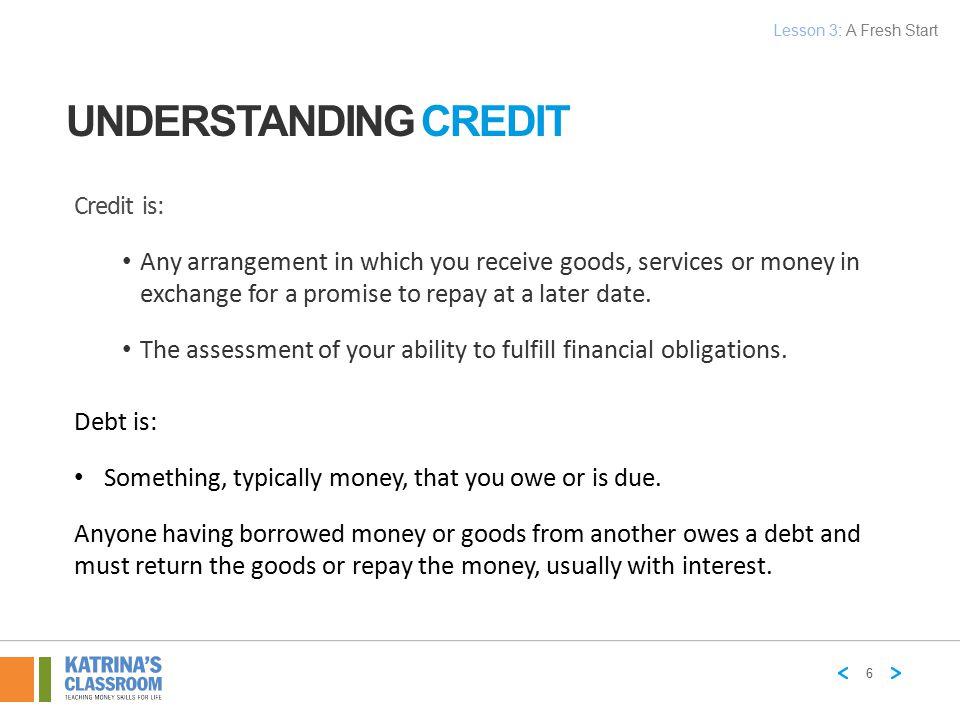 Understanding Credit Credit is: