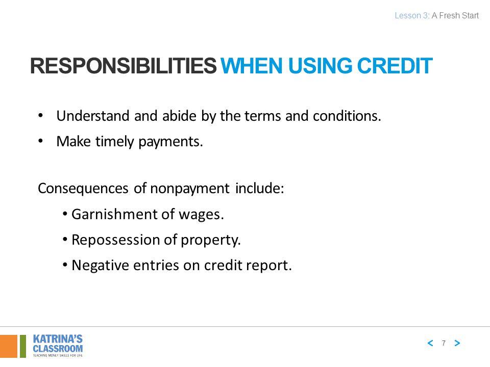 Responsibilities When Using Credit