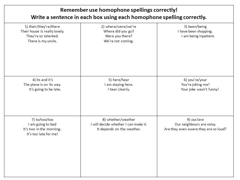 Remember use homophone spellings correctly!