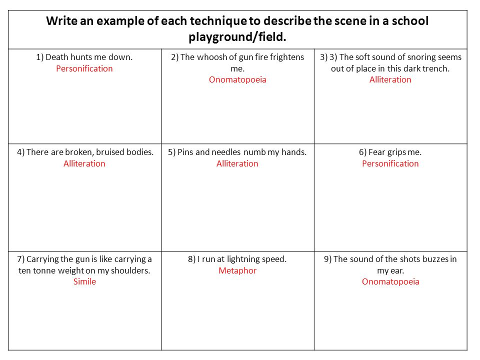 Write an example of each technique to describe the scene in a school playground/field.
