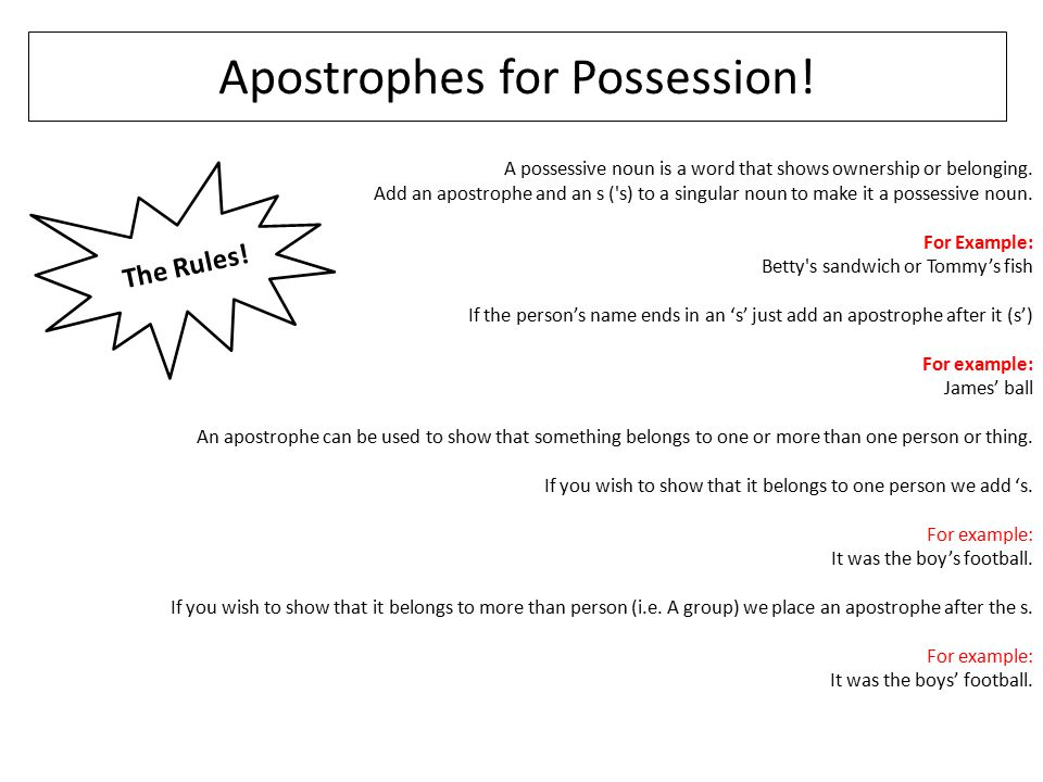 Apostrophes for Possession!