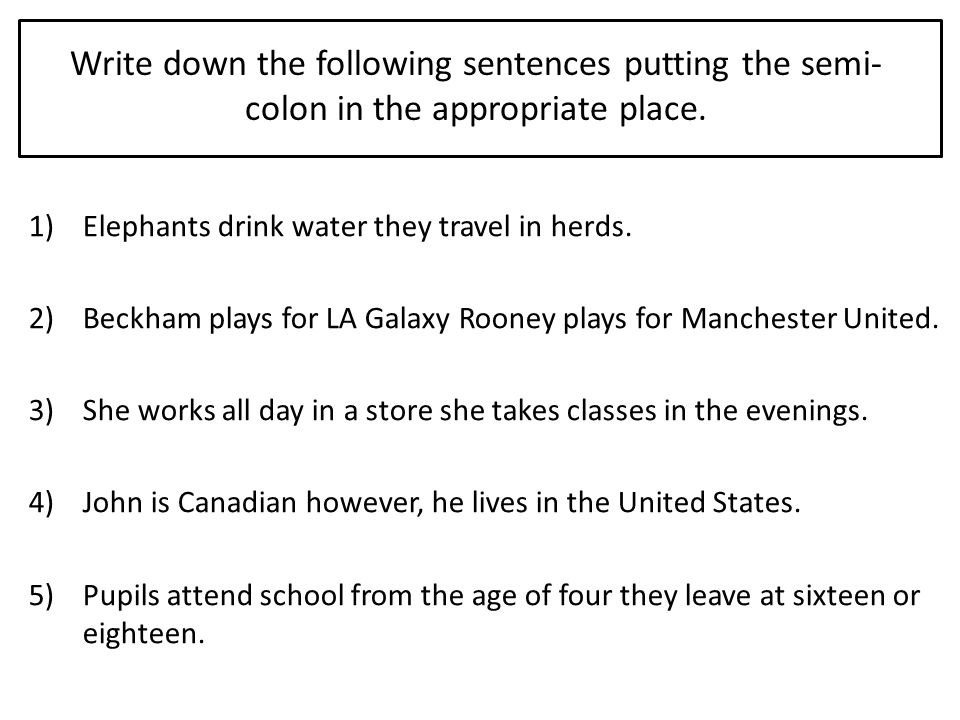 Write down the following sentences putting the semi-colon in the appropriate place.