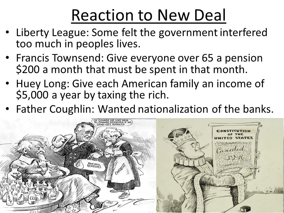 Reaction to New Deal Liberty League: Some felt the government interfered too much in peoples lives.