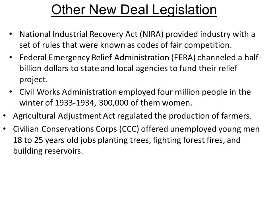 Other New Deal Legislation