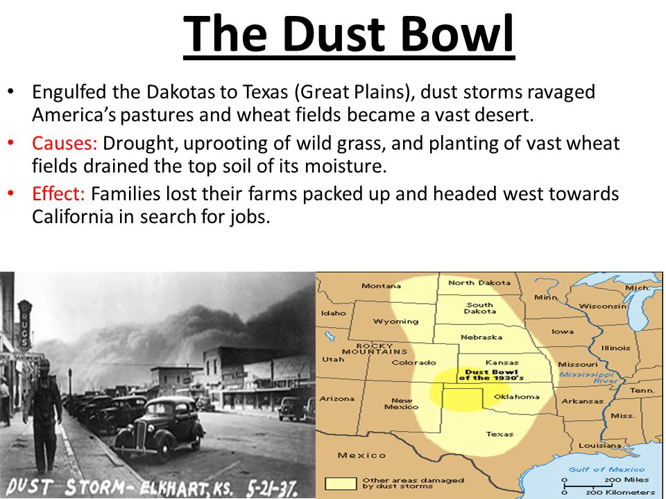 The Dust Bowl Engulfed the Dakotas to Texas (Great Plains), dust storms ravaged America's pastures and wheat fields became a vast desert.