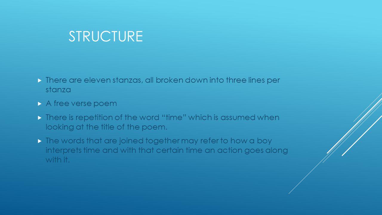 Structure There are eleven stanzas, all broken down into three lines per stanza. A free verse poem.