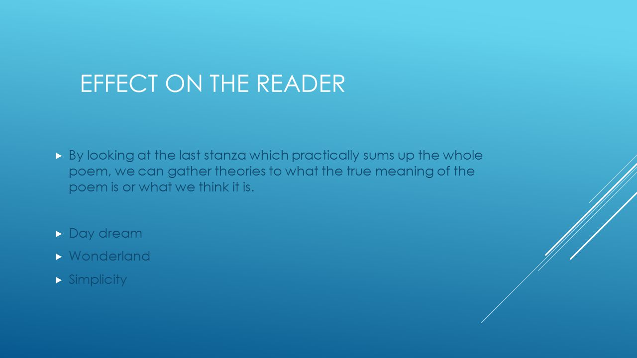 Effect on the reader